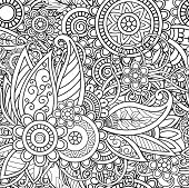 Ethnic Seamless Pattern With Mandalas, Flowers And Leaves. Doodles Floral Black And White Ornament.  poster