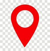 Location Pin Icon On Transparent. Location Pin Sign. Flat Style. Red Location Pin Symbol. Map Pointe poster