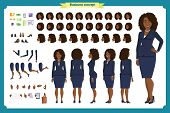 Set Of Black Businesswoman Character Design.front, Side, Back View Animated Character.business Girl  poster