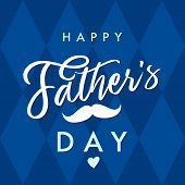 Happy Father`s Day Vector Lettering Navy Blue Background. Happy Fathers Day Calligraphy With Crown A poster