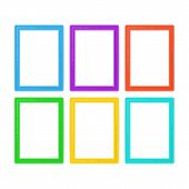 Photo Frames Set In Cartoon Style. Collection Of Multi Colored Picture Frame Isolated On White Backg poster