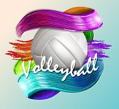Volleyball Text On An Abstract Background, Sports, Brush Strokes Of Bright Paint poster