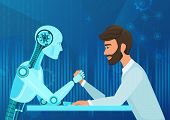 Vector Cartoon Human Businessman Office Manager Man Vs Robot Artificial Intelligence Pulling Rope Co poster