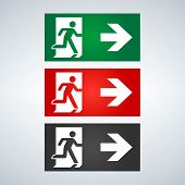 Vector Fire Emergency Icons. Signs Of Evacuations. Fire Emergency Exit In Green And Red. Exit Signs. poster