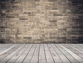 Empty Room Perspective,grunge Brick Wall And Wood Plank Floor, Mock Up Template For Display Or Monta poster