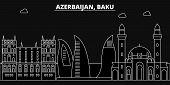 Постер, плакат: Baku Silhouette Skyline Azerbaijan Baku Vector City Azerbaijani Linear Architecture Buildings