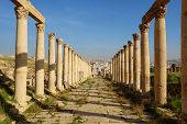 Columns Of The Cardo Maximus, Ancient Roman City Of Gerasa Of Antiquity , Modern Jerash, Jordan, Mid poster