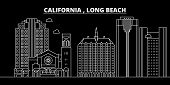 Long Beach Silhouette Skyline. Usa - Long Beach Vector City, American Linear Architecture, Buildings poster