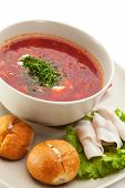 foto of pampushka  - Beetroot and Cabbage Soup with Bread - JPG