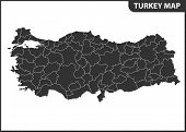 The Detailed Map Of Turkey With Regions Or States. Administrative Division. poster