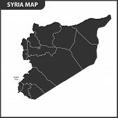 The Detailed Map Of Syria With Regions Or States. Administrative Division poster
