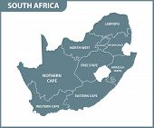 The Detailed Map Of South Africa With Regions Or States. Administrative Division poster