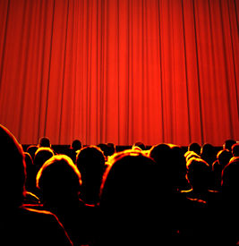 foto of curtains stage  - Business audience waiting for a seminar or show - JPG