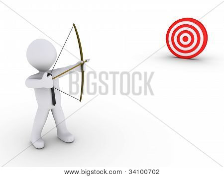 Businessman As An Archer Aiming At A Target