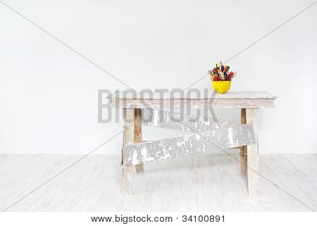 Construction Grunge Ladder And Helmet Full With Tools In White Interior
