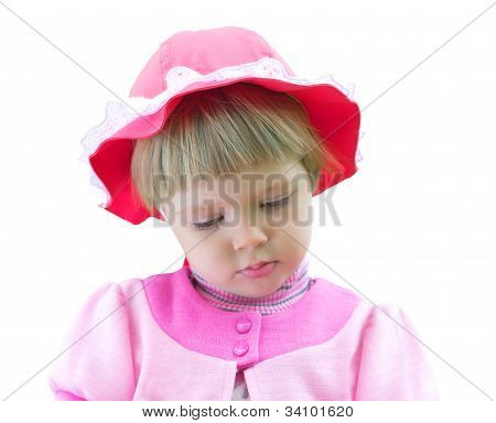 Little Girl In Pink Dress Isolated On White