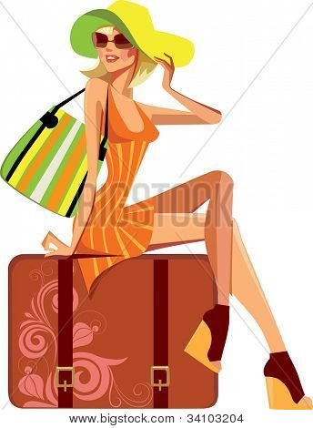 traveler woman sitting on suitcase
