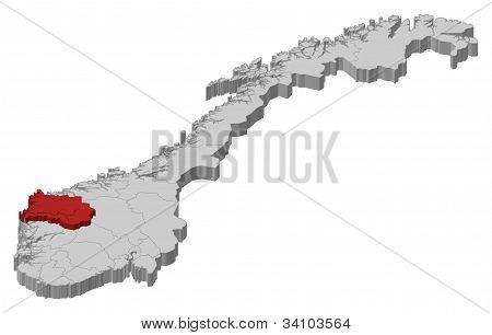 Map Of Norway, Sogn Og Fjordane Highlighted