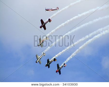 Six yak-50 during airshow