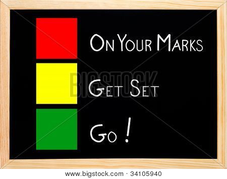 On Your Mark, Get Set, Go,traffic Light Concept Blackboard