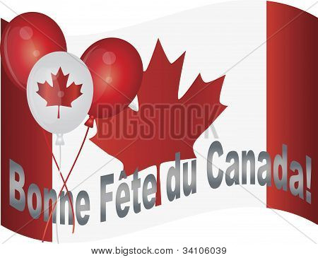 Happy Canada Day Flag And Balloons Illustration