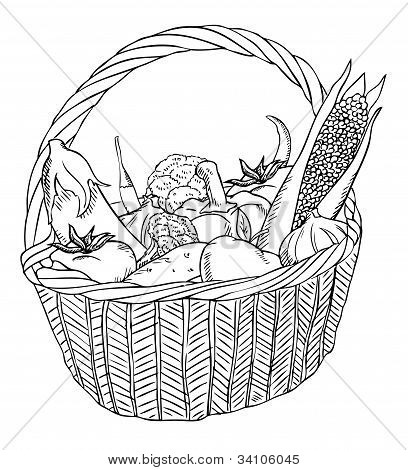 Basket With Different Vegetables Vector