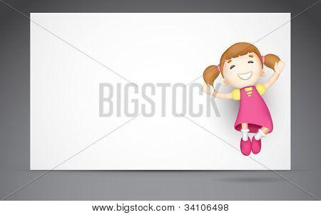 illustration of 3d girl jumping against blank board