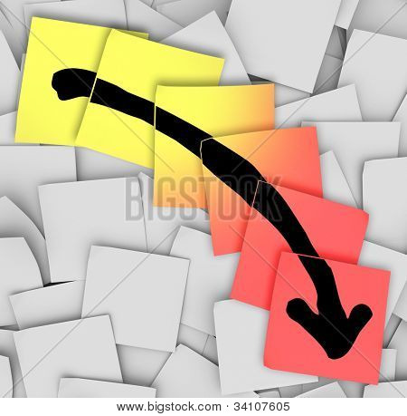An arrow pointing downward drawn on yellow and red sticky notes, illustrating failure, negative movement, loss of money or assets and unsuccessful efforts