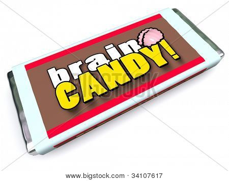 A candy bar with the words Brain Candy on the package wrapper to symbolize brainstorming, ideas, thoughts, other concepts related to mind power