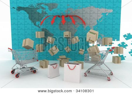 3d render concept of shipping everywhere