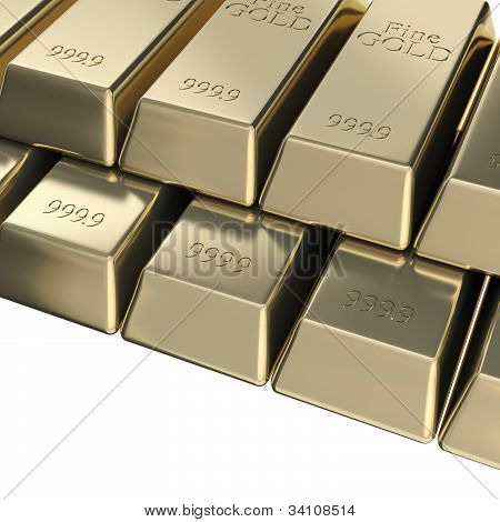 Pile of golden bars, pyramid stack