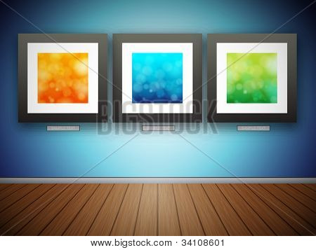 3D Blank Photo Frames with Abstract Images - EPS10 Vector Illustration