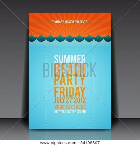 Sommer Strand Party Flyer Vektor Vorlage eps10 design