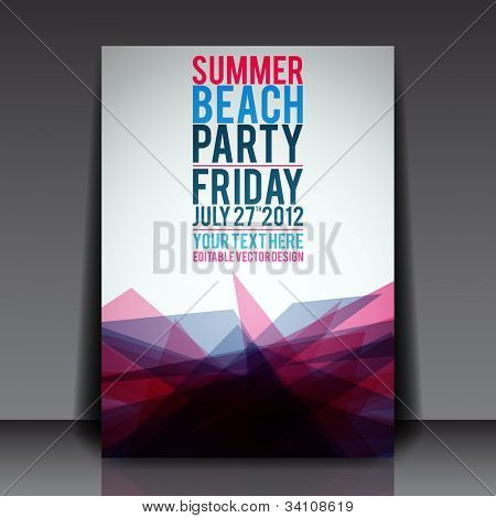 Abstract Summer Party Flyer Template - Vector Design