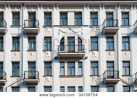 The facade of apartment building