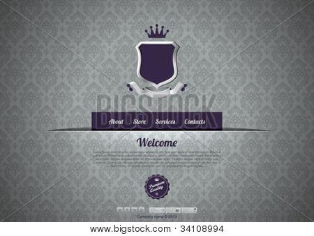 Luxury Vintage Website template. Logo copyspace. Retro pattern background design. Editable.