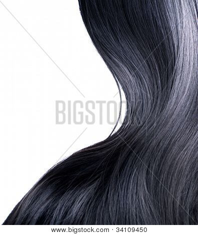 Black Hair Isolated on a White Background