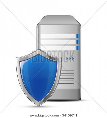IT security concept. Server and shield. Vector Illustration of protected computer server
