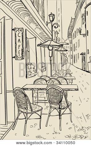 Street cafe in old town sketch illustration.