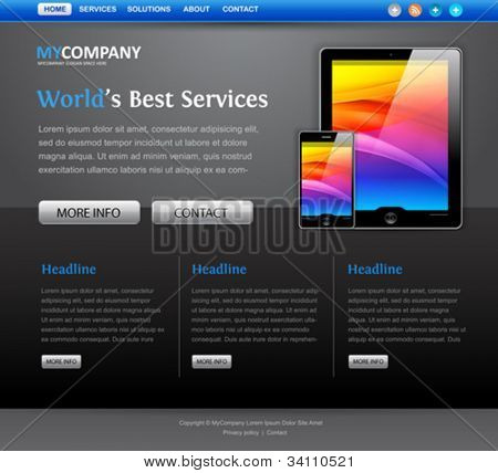 web site design template with tablet computer icons