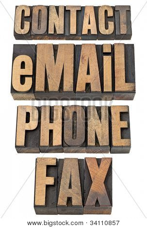 contact, email, phone, fax  - isolated word set in vintage letterpress wood type