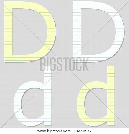 Paper Font Set Letter D