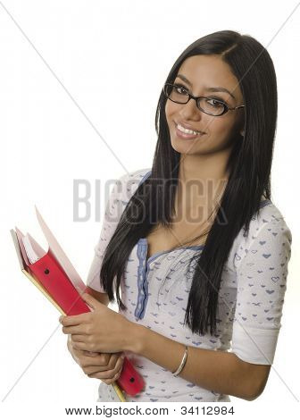 Happy smiling positive young woman holding office supplies