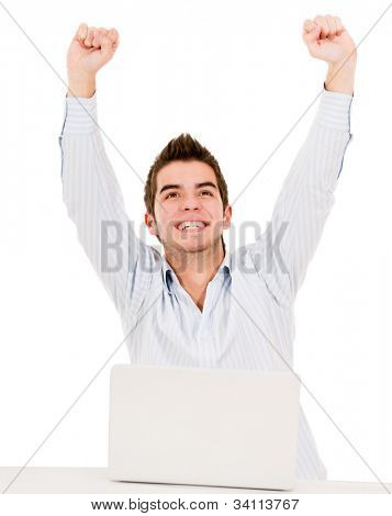 Man with arms up celebrating his online success - isolated over white