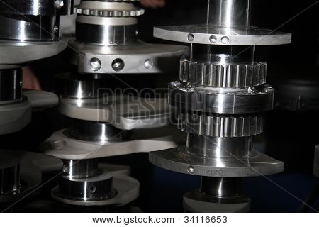 Gears and crank shafts.