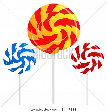round shape lollipops on white background