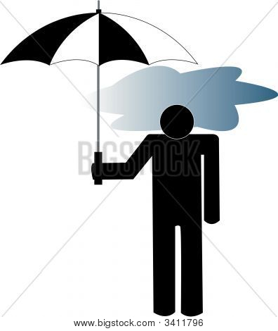 Stick Man With Storm Cloud Under Umbrella.