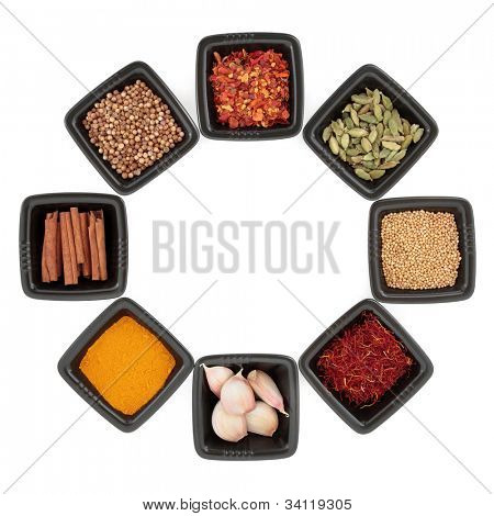 Spice and herb collection of coriander and mustard seed, chili flakes, saffron, cinnamon sticks, cardamom pods, turmeric, garlic clove herb in black dishes on white background.