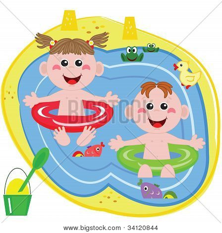 Swimmer funny boy and girl.