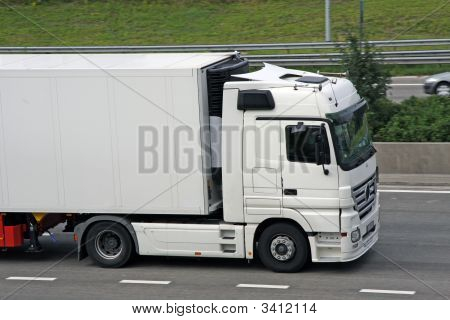 Truck On The Highway In Europe